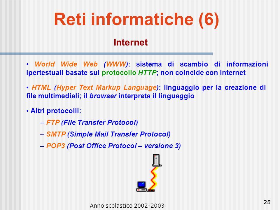Anno scolastico 2002-2003 27 Reti informatiche (5) Internet Internet è attualmente il più vasto sistema di comunicazione via computer al mondo Usato p