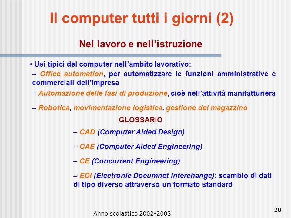 Anno scolastico 2002-2003 29 Il computer tutti i giorni (1) Nella casa Usi tipici del computer nella casa: – Internet e posta elettronica come strumen