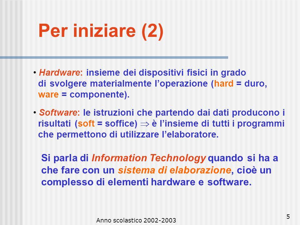 Anno scolastico 2002-2003 4 Per iniziare (1) ELABORATORE Lelaboratore svolge in automatica loperazione di elaborare i dati a seconda delle istruzioni