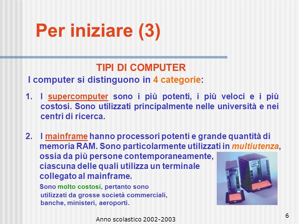 Anno scolastico 2002-2003 5 Per iniziare (2) Hardware: insieme dei dispositivi fisici in grado di svolgere materialmente loperazione (hard = duro, war
