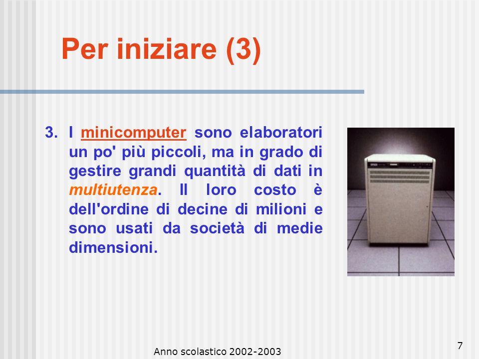 Anno scolastico 2002-2003 6 Per iniziare (3) TIPI DI COMPUTER I computer si distinguono in 4 categorie: 1.I supercomputer sono i più potenti, i più ve