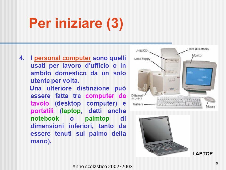 Anno scolastico 2002-2003 7 Per iniziare (3) 3.I minicomputer sono elaboratori un po' più piccoli, ma in grado di gestire grandi quantità di dati in m