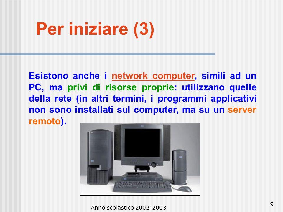 Anno scolastico 2002-2003 8 Per iniziare (3) 4.I personal computer sono quelli usati per lavoro d'ufficio o in ambito domestico da un solo utente per