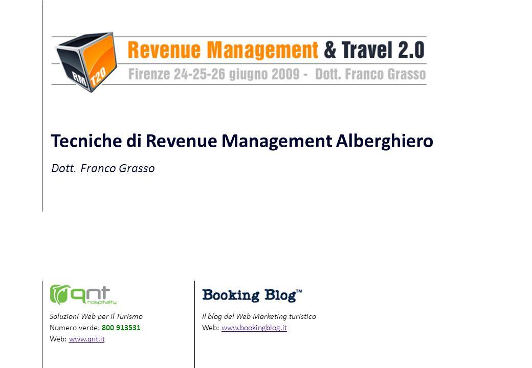 Il blog del Web Marketing turistico Web: www.bookingblog.itwww.bookingblog.it Soluzioni Web per il Turismo Numero verde: 800 913531 Web: www.qnt.itwww.qnt.it Tecniche di Revenue Management Alberghiero Dott.