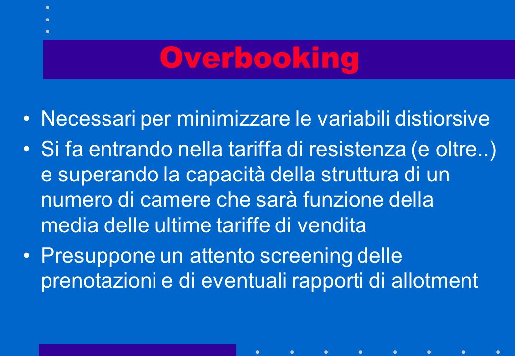 Ovebooking/Oversale Overbooking Prenotazioni maggiori della capacità della struttura Oversale Riprotezione della persona fisica in unaltra struttura