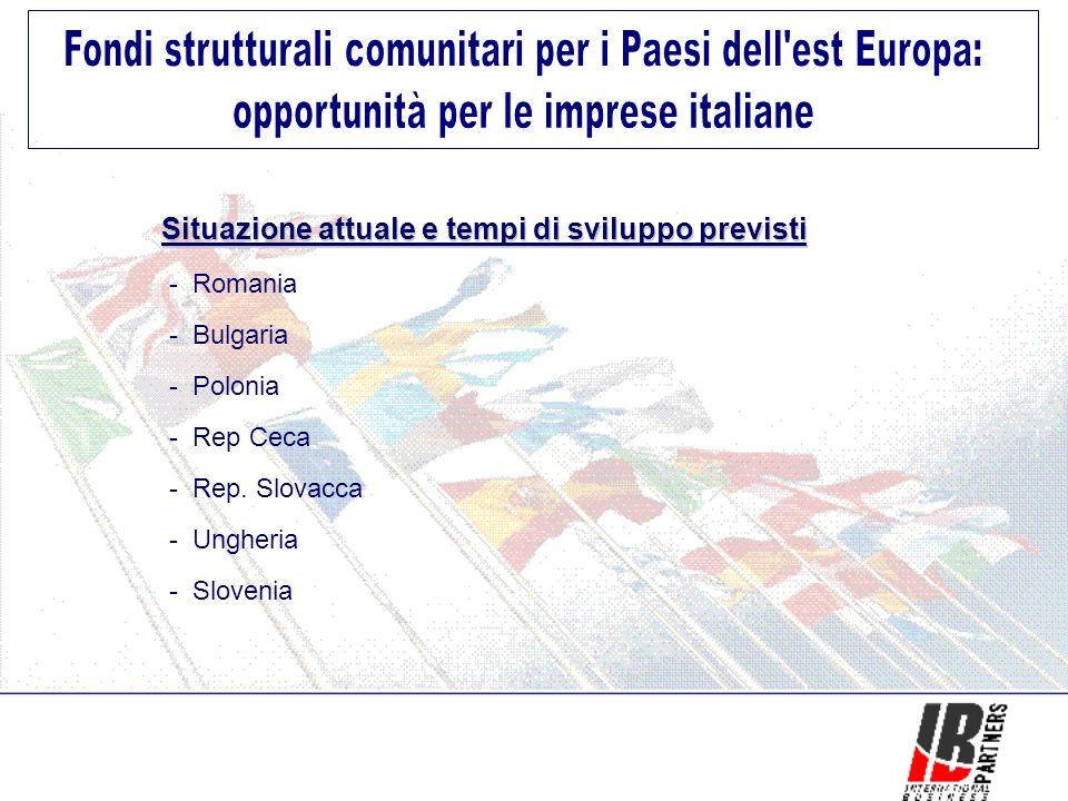 Situazione attuale e tempi di sviluppo previsti Situazione attuale e tempi di sviluppo previsti - Romania - Bulgaria - Polonia - Rep Ceca - Rep.