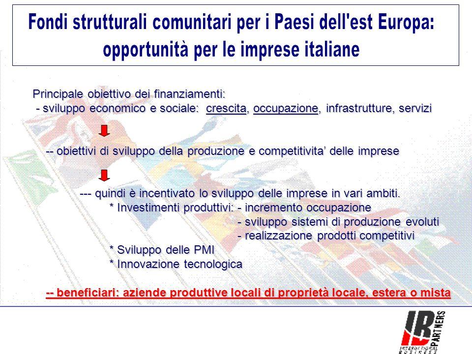 Principale obiettivo dei finanziamenti: - sviluppo economico e sociale: crescita, occupazione, infrastrutture, servizi - sviluppo economico e sociale: crescita, occupazione, infrastrutture, servizi -- obiettivi di sviluppo della produzione e competitivita delle imprese -- obiettivi di sviluppo della produzione e competitivita delle imprese --- quindi è incentivato lo sviluppo delle imprese in vari ambiti.