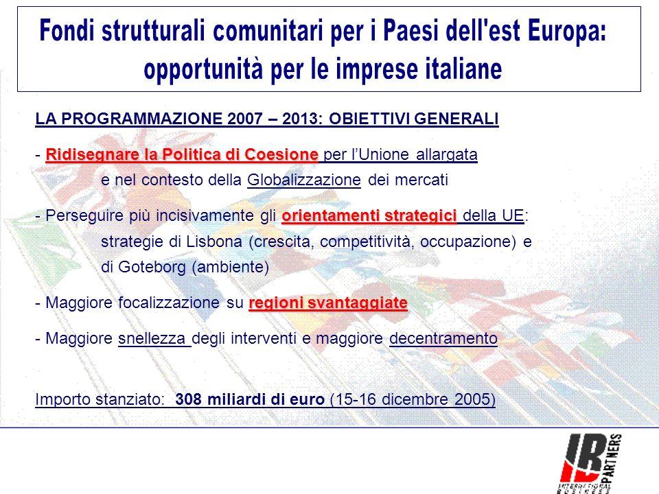 LA PROGRAMMAZIONE 2007 – 2013: OBIETTIVI GENERALI Ridisegnare la Politica di Coesione - Ridisegnare la Politica di Coesione per lUnione allargata e nel contesto della Globalizzazione dei mercati orientamenti strategici - Perseguire più incisivamente gli orientamenti strategici della UE: strategie di Lisbona (crescita, competitività, occupazione) e di Goteborg (ambiente) regioni svantaggiate - Maggiore focalizzazione su regioni svantaggiate - Maggiore snellezza degli interventi e maggiore decentramento Importo stanziato: 308 miliardi di euro (15-16 dicembre 2005)