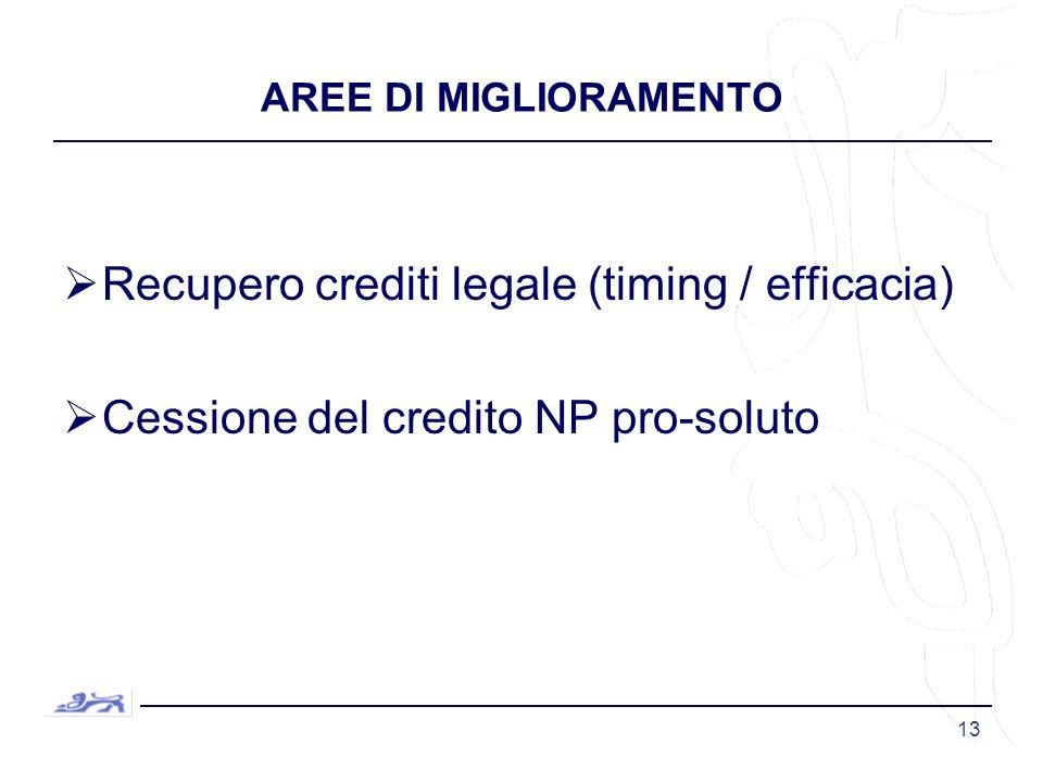 13 AREE DI MIGLIORAMENTO Recupero crediti legale (timing / efficacia) Cessione del credito NP pro-soluto