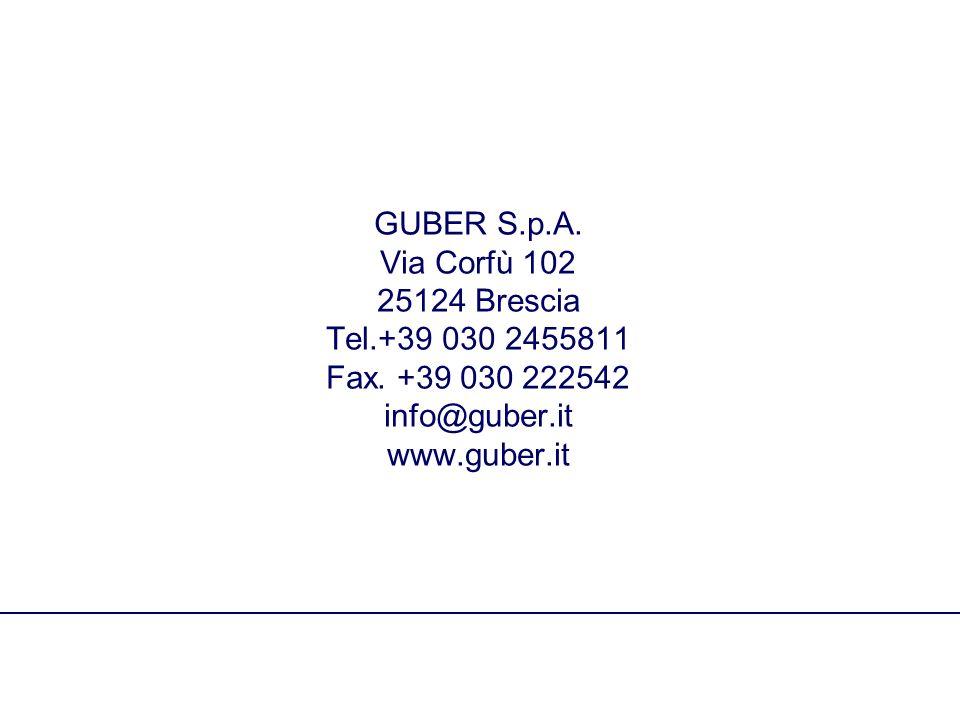 GUBER S.p.A. Via Corfù 102 25124 Brescia Tel.+39 030 2455811 Fax.