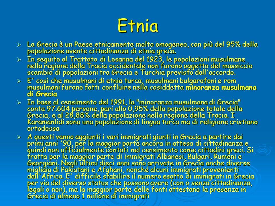 Etnia La Grecia è un Paese etnicamente molto omogeneo, con più del 95% della popolazione avente cittadinanza di etnia greca. La Grecia è un Paese etni
