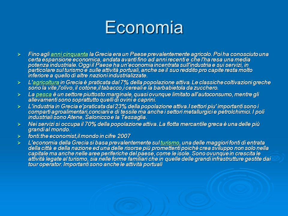 Economia Fino agli anni cinquanta la Grecia era un Paese prevalentemente agricolo. Poi ha conosciuto una certa espansione economica, andata avanti fin