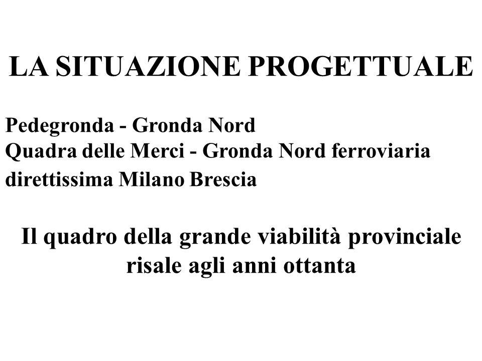 LA SITUAZIONE PROGETTUALE Pedegronda - Gronda Nord Quadra delle Merci - Gronda Nord ferroviaria direttissima Milano Brescia Il quadro della grande viabilità provinciale risale agli anni ottanta