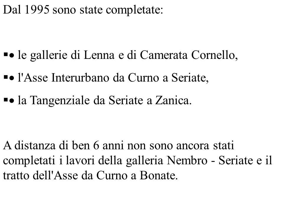 Dal 1995 sono state completate: le gallerie di Lenna e di Camerata Cornello, l Asse Interurbano da Curno a Seriate, la Tangenziale da Seriate a Zanica.