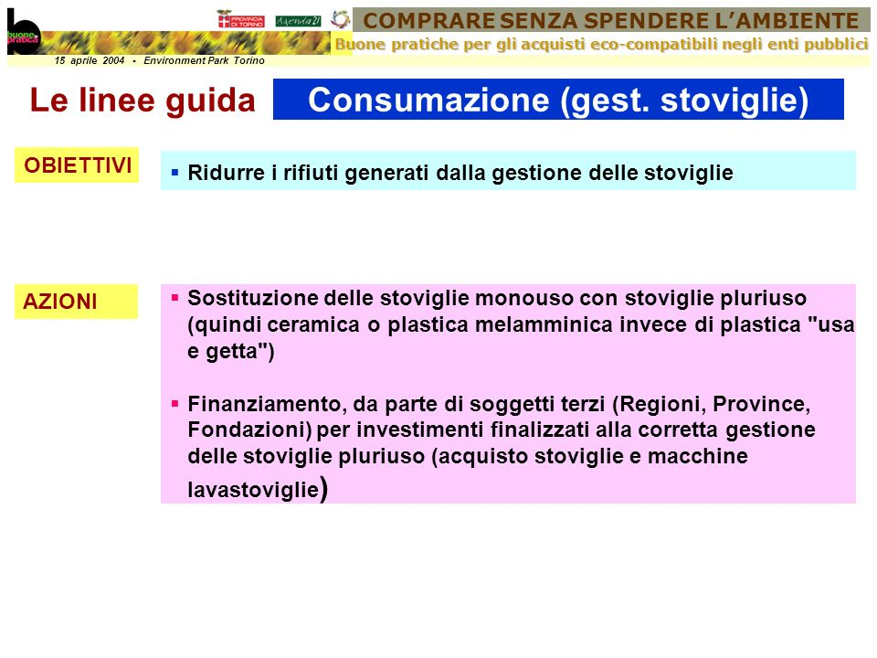 COMPRARE SENZA SPENDERE LAMBIENTE 15 aprile 2004 - Environment Park Torino Buone pratiche per gli acquisti eco-compatibili negli enti pubblici Consumazione (gest.