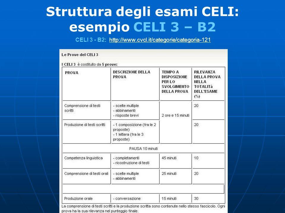 Struttura degli esami CELI: esempio CELI 3 – B2 CELI 3 - B2: http://www.cvcl.it/categorie/categoria-121http://www.cvcl.it/categorie/categoria-121