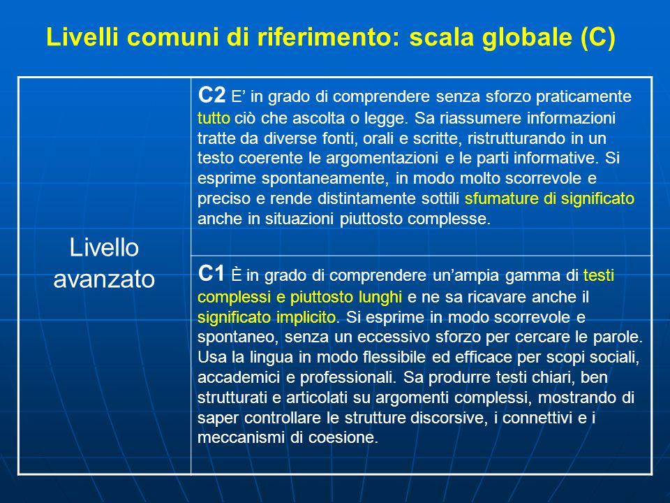 Livelli comuni di riferimento: scala globale (C) Livello avanzato C2 E in grado di comprendere senza sforzo praticamente tutto ciò che ascolta o legge