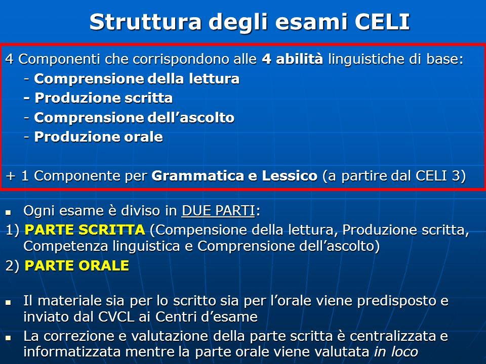 Struttura degli esami CELI 4 Componenti che corrispondono alle 4 abilità linguistiche di base: - Comprensione della lettura - Produzione scritta - Com