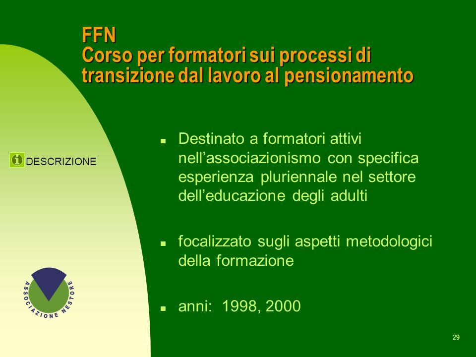 28 LE PRIME ATTIVITA n Corso FFN n Corso PPN a Milano e Torino n Traduzione del saggio La jubilacion, un enfoque positivo di R. Moragas