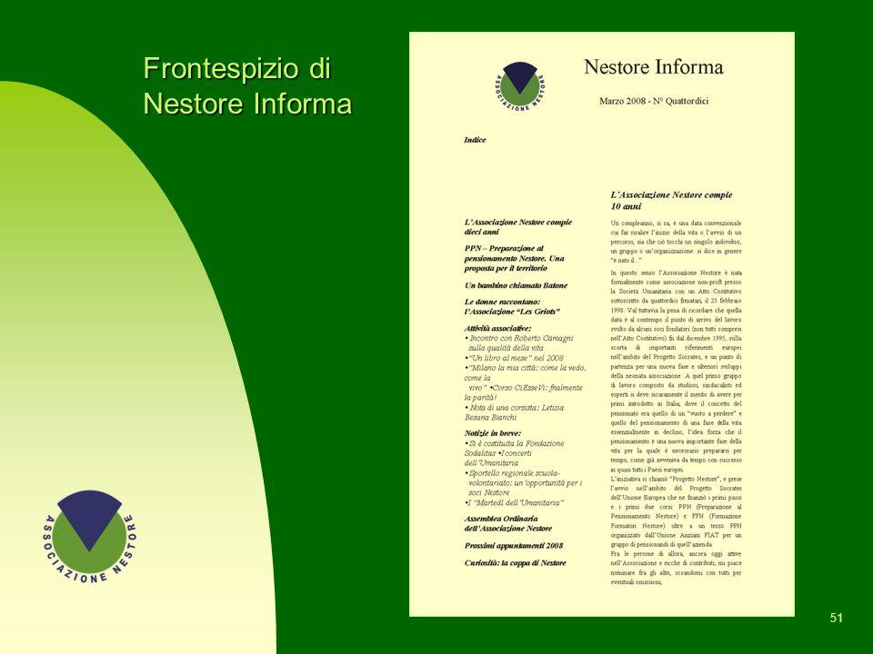 Il notiziario NESTORE INFORMA n Il numero zero è stato pubblicato a marzo 2001 e fino ad oggi ne sono stati realizzati 16 numeri con cadenza semestral