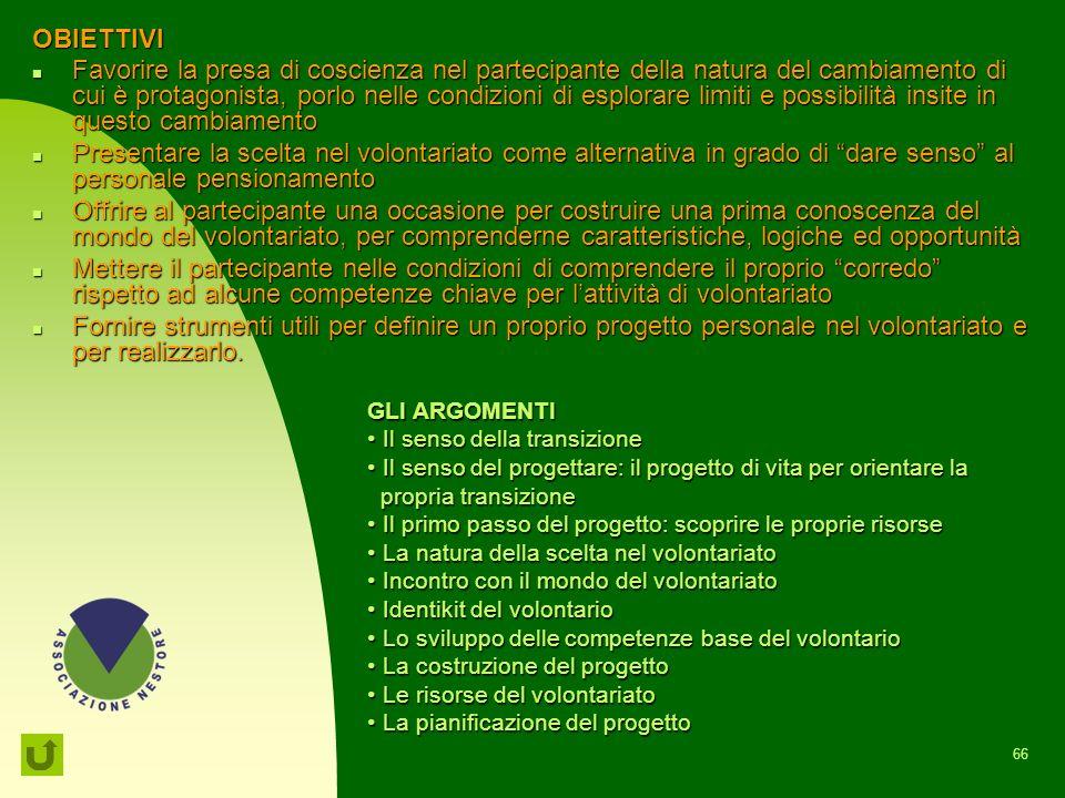65 PPN Preparazione al pensionamento Nestore Il percorso è stato riprogettato, dieci anni dopo, tenendo conto dei cambiamenti sociali, culturali, legi