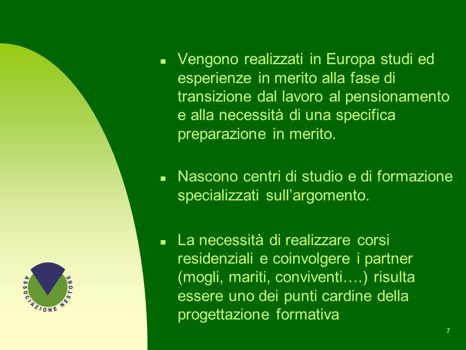 7 n Vengono realizzati in Europa studi ed esperienze in merito alla fase di transizione dal lavoro al pensionamento e alla necessità di una specifica preparazione in merito.