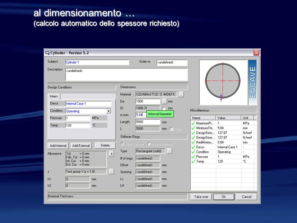 al dimensionamento … (calcolo automatico dello spessore richiesto)