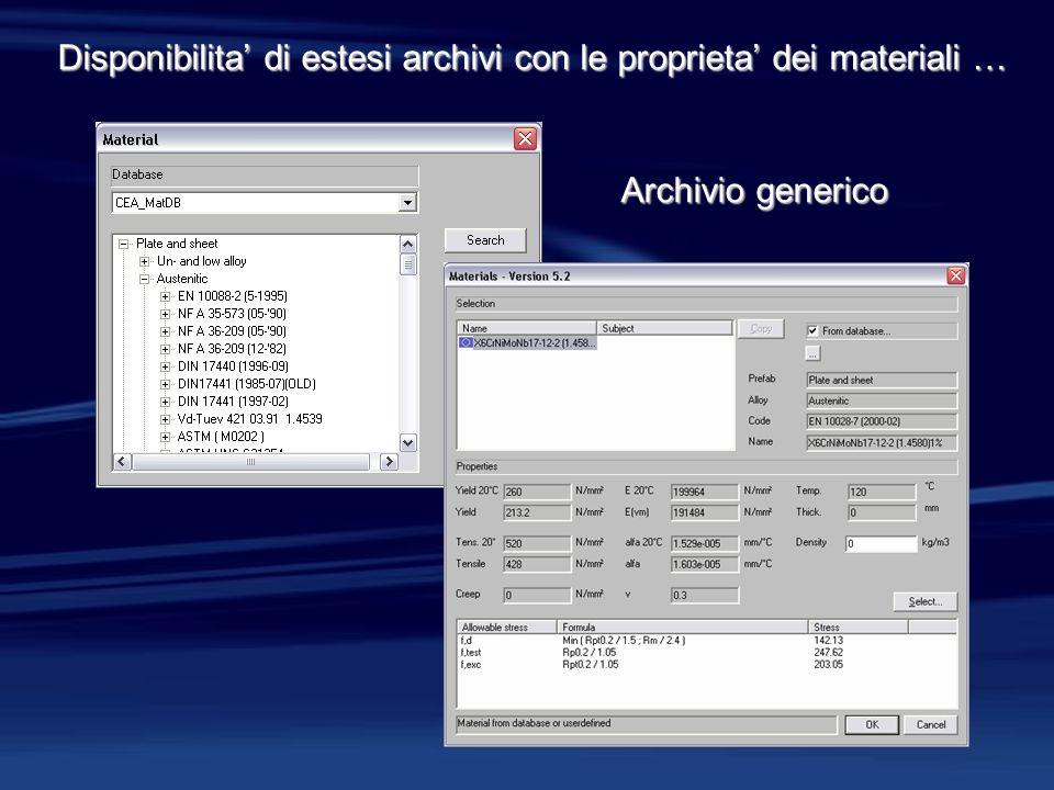 Disponibilita di estesi archivi con le proprieta dei materiali … Archivio generico