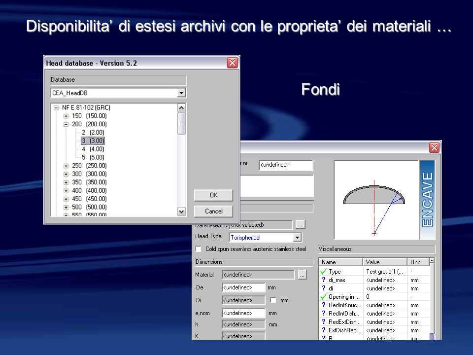Fondi Disponibilita di estesi archivi con le proprieta dei materiali …