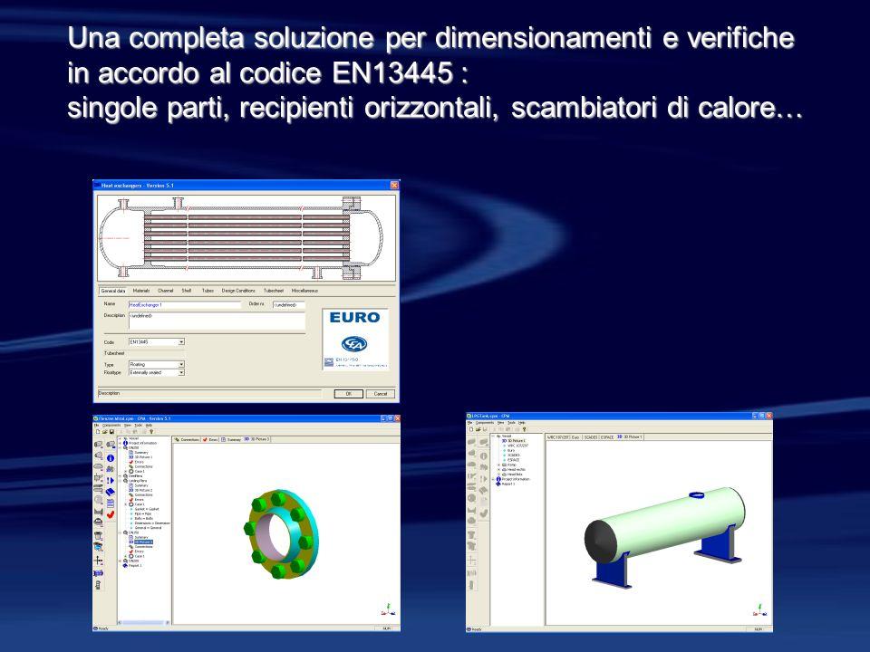 Una completa soluzione per dimensionamenti e verifiche in accordo al codice EN13445 : singole parti, recipienti orizzontali, scambiatori di calore…