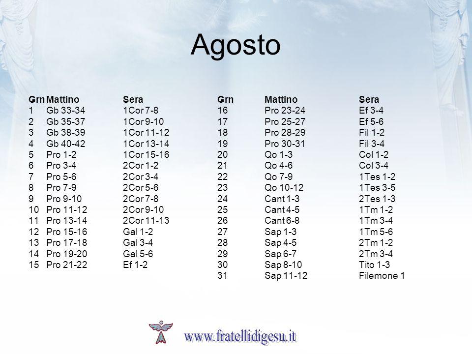 Agosto GrnMattinoSeraGrnMattinoSera 1Gb 33-341Cor 7-816Pro 23-24Ef 3-4 2Gb 35-371Cor 9-1017Pro 25-27Ef 5-6 3Gb 38-391Cor 11-1218Pro 28-29Fil 1-2 4Gb 4
