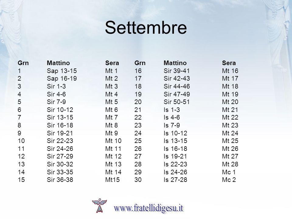 Settembre GrnMattinoSeraGrnMattinoSera 1Sap 13-15Mt 116Sir 39-41Mt 16 2Sap 16-19Mt 217Sir 42-43Mt 17 3Sir 1-3Mt 318Sir 44-46Mt 18 4Sir 4-6Mt 419Sir 47