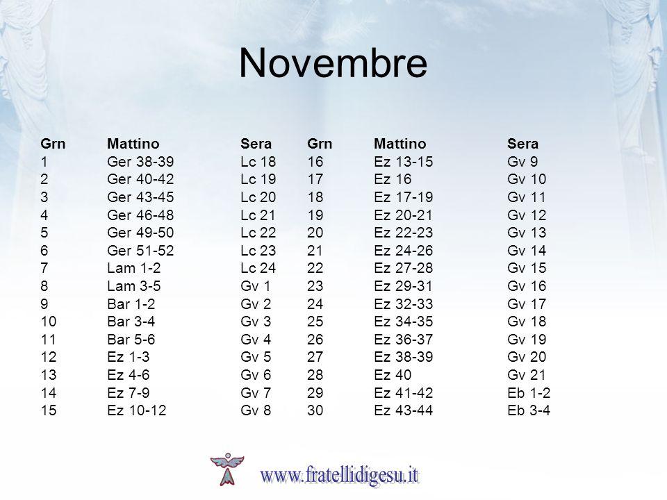 Novembre GrnMattinoSeraGrnMattinoSera 1Ger 38-39Lc 1816Ez 13-15Gv 9 2Ger 40-42Lc 1917Ez 16Gv 10 3Ger 43-45Lc 2018Ez 17-19Gv 11 4Ger 46-48Lc 2119Ez 20-