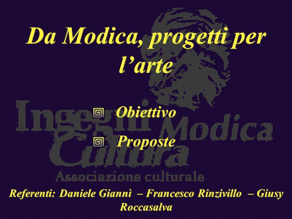 Da Modica, progetti per larte Obiettivo Proposte Referenti: Daniele Giannì – Francesco Rinzivillo – Giusy Roccasalva Da Modica, progetti per larte Obi