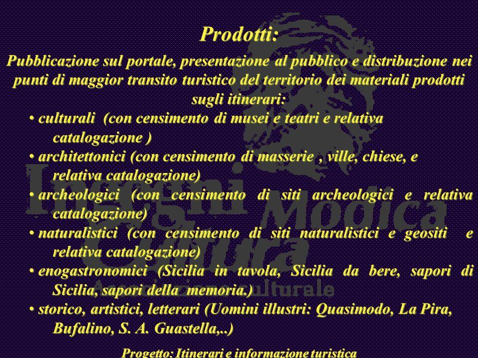 Prodotti: Pubblicazione sul portale, presentazione al pubblico e distribuzione nei punti di maggior transito turistico del territorio dei materiali pr