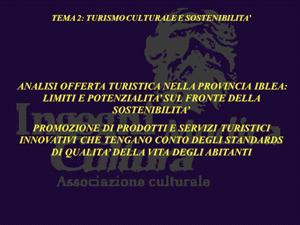 TEMA 2: TURISMO CULTURALE E SOSTENIBILITA ANALISI OFFERTA TURISTICA NELLA PROVINCIA IBLEA: LIMITI E POTENZIALITA SUL FRONTE DELLA SOSTENIBILITA PROMOZ