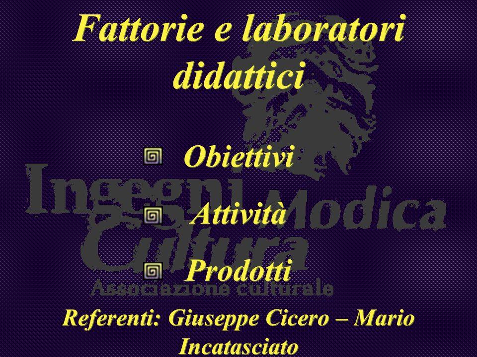 Fattorie e laboratori didattici Obiettivi Attività Prodotti Referenti: Giuseppe Cicero – Mario Incatasciato Fattorie e laboratori didattici Obiettivi