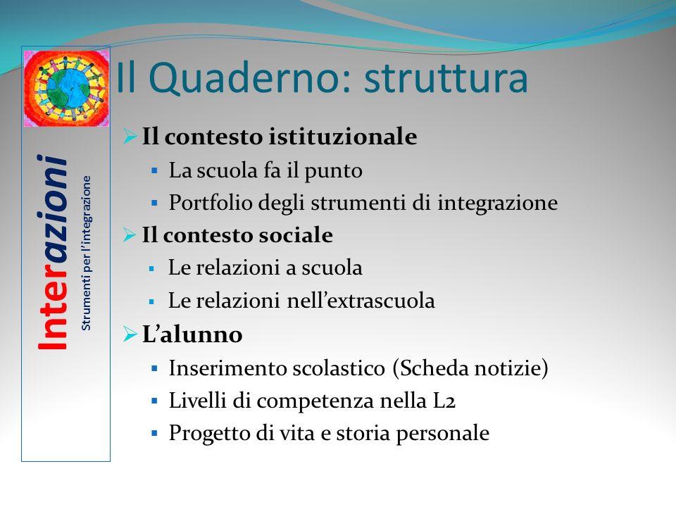 Il Quaderno: struttura Il contesto istituzionale La scuola fa il punto Portfolio degli strumenti di integrazione Il contesto sociale Le relazioni a sc
