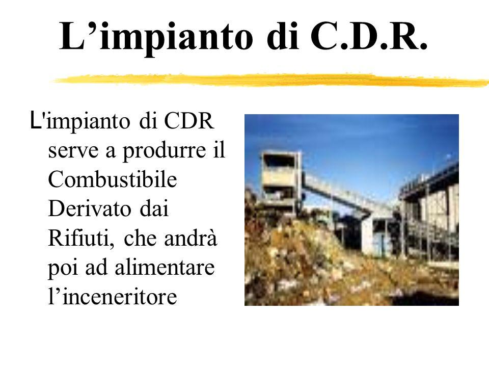 Limpianto di C.D.R. L 'impianto di CDR serve a produrre il Combustibile Derivato dai Rifiuti, che andrà poi ad alimentare linceneritore