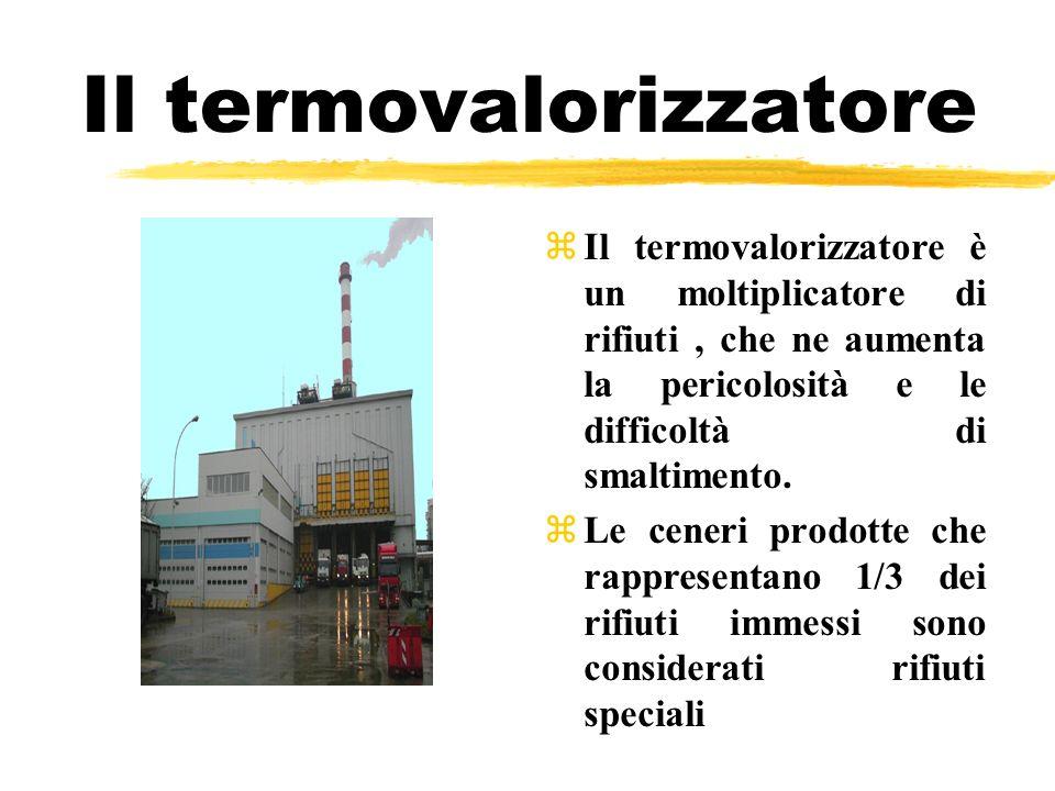 Il termovalorizzatore zIl termovalorizzatore è un moltiplicatore di rifiuti, che ne aumenta la pericolosità e le difficoltà di smaltimento. zLe ceneri