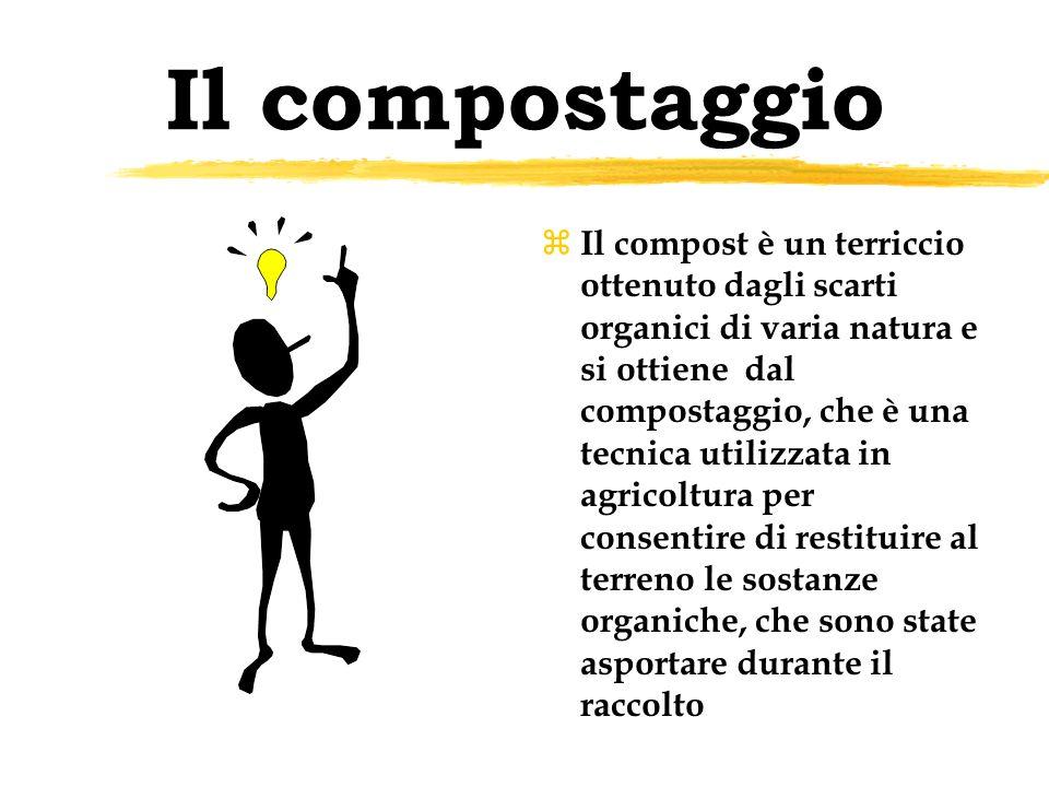 Il compostaggio z Il compost è un terriccio ottenuto dagli scarti organici di varia natura e si ottiene dal compostaggio, che è una tecnica utilizzata