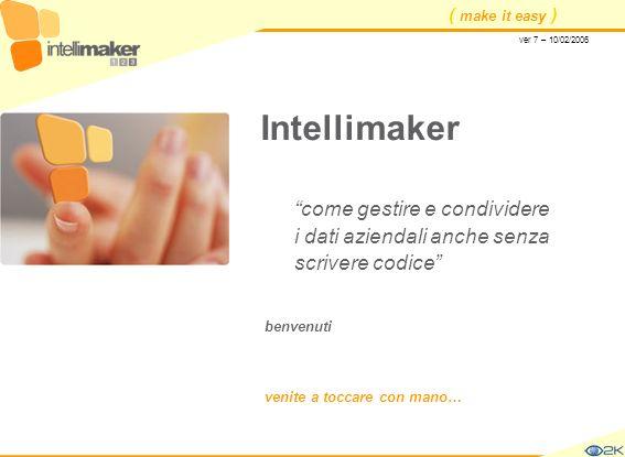 ( make it easy ) Intellimaker come gestire e condividere i dati aziendali anche senza scrivere codice benvenuti venite a toccare con mano… ver 7 – 10/