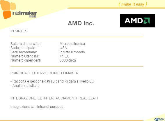 ( make it easy ) AMD Inc. IN SINTESI ____________________________________________________________________ Settore di mercato: Microelettronica Sede pr