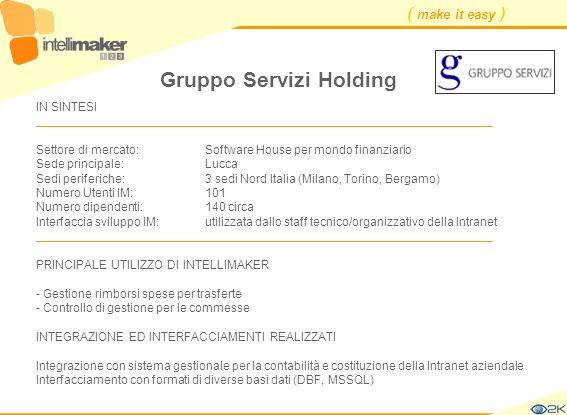 ( make it easy ) Gruppo Servizi Holding IN SINTESI ____________________________________________________________________ Settore di mercato: Software H