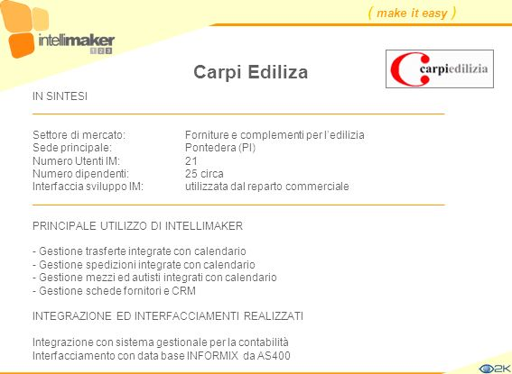 ( make it easy ) Carpi Ediliza IN SINTESI ____________________________________________________________________ Settore di mercato: Forniture e complem