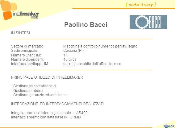 ( make it easy ) Paolino Bacci IN SINTESI ____________________________________________________________________ Settore di mercato: Macchine a controll