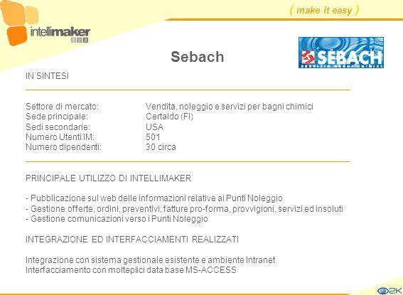 ( make it easy ) Sebach IN SINTESI ____________________________________________________________________ Settore di mercato: Vendita, noleggio e serviz