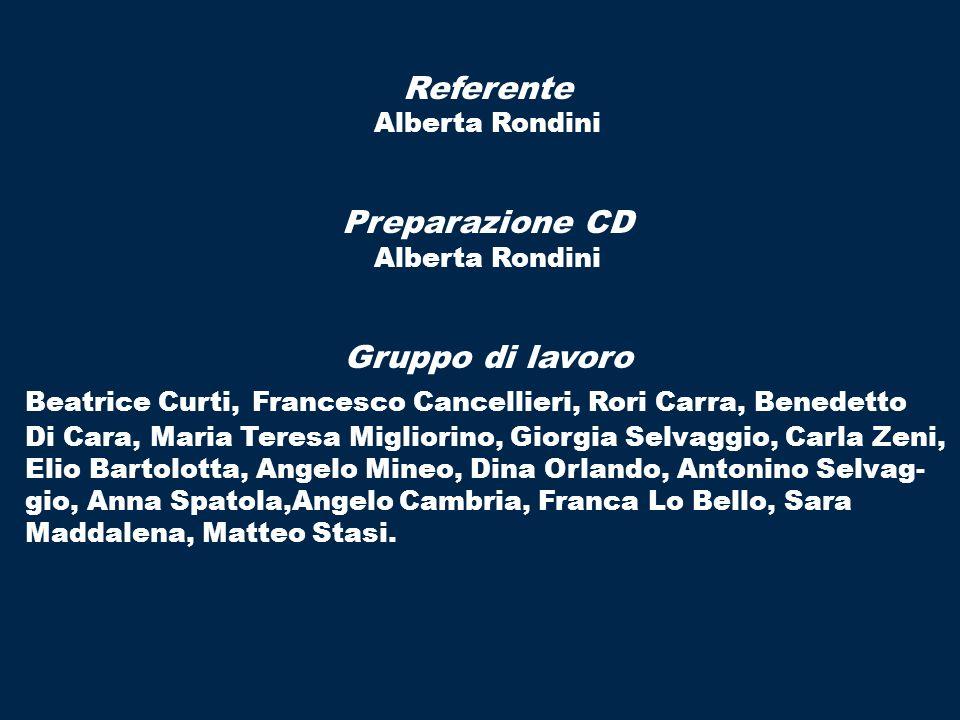 Referente Alberta Rondini Preparazione CD Alberta Rondini Gruppo di lavoro Beatrice Curti, Francesco Cancellieri, Rori Carra, Benedetto Di Cara, Maria