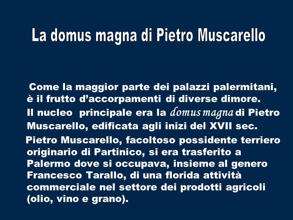 Come la maggior parte dei palazzi palermitani, è il frutto daccorpamenti di diverse dimore. Il nucleo principale era la domus magna di Pietro Muscarel