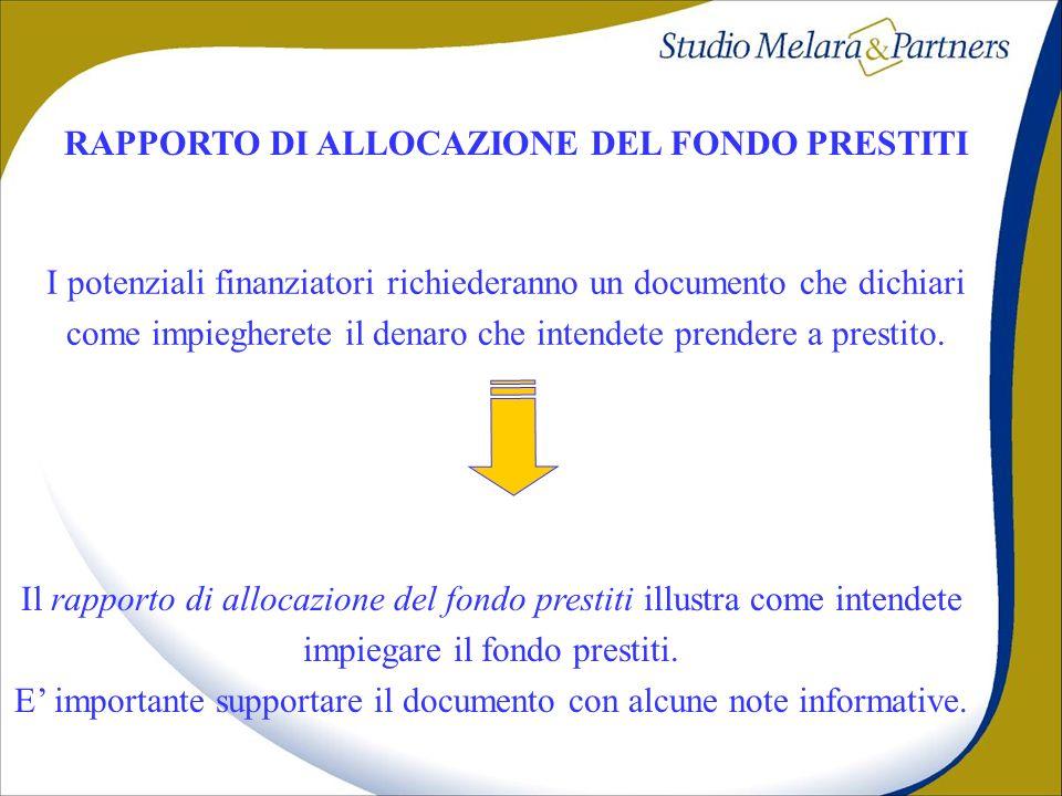RAPPORTO DI ALLOCAZIONE DEL FONDO PRESTITI I potenziali finanziatori richiederanno un documento che dichiari come impiegherete il denaro che intendete
